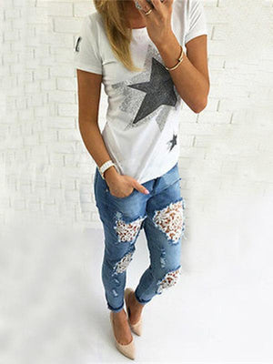 Sexy lace splicing washing distressed denim skinny jeans