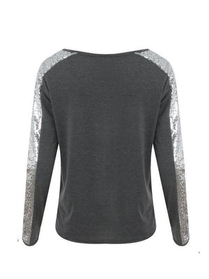 V-neck sequins splicing casual sweatershirt