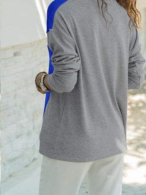 V-neck color block splicing sweatershirt