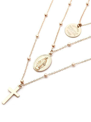 Multi-layered chain cross coin beads choker necklace