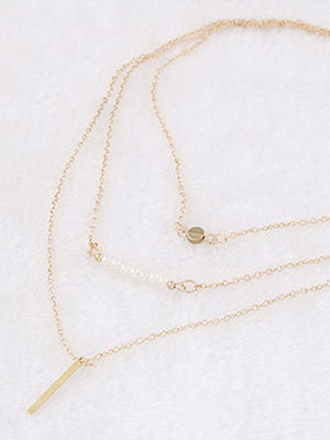 Simple Pearl Stick Multi-Layer Necklace