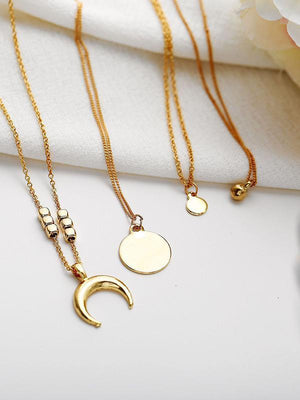 Personality Multi-Layer Moon Round Pendant Necklace