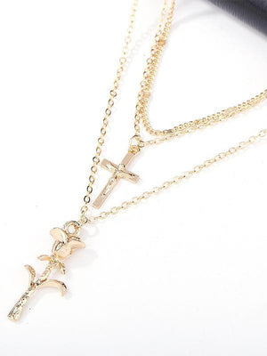 Cross Rose Pendant Necklace