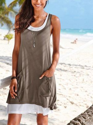 Round Neck Drawstring Shift Casual Dress