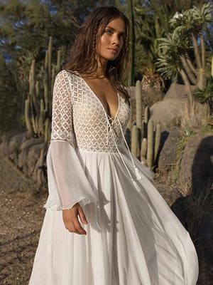 V-neck Flared Backless White Maxi Dress