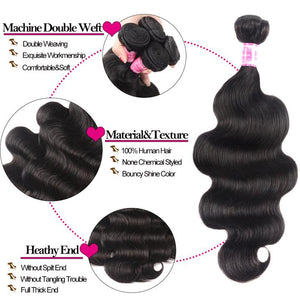 Brazilian Virgin Hair Weft Body Wave 3 Bundles Free Shipping