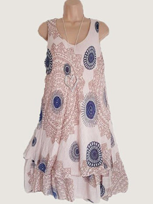 Round Neck  Bohemian Camisole Casual Dress