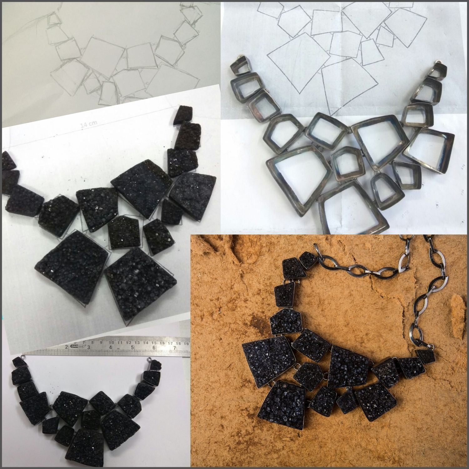 Charcoal Charm Necklace - Sketch to Final Piece