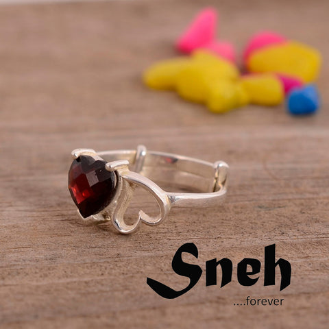 Red garnet heart Sneh collection