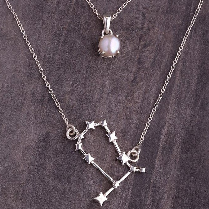 Gemini constellation & pearl birthstone pendant