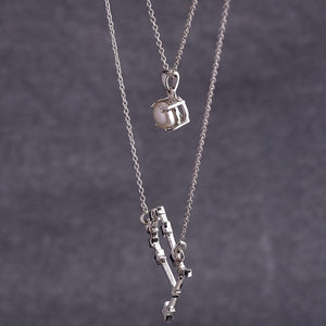 Sterling silver layered gemini necklace