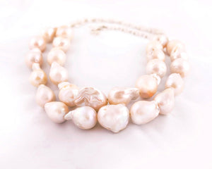 Layered white pearl necklace