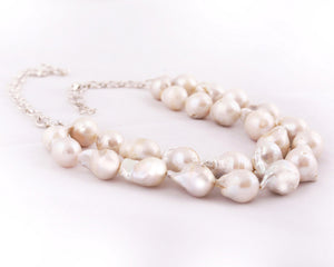 Fresh water baroque pearl dual strand necklace