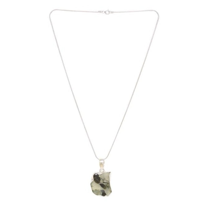 Prehnite stone origin from Africa pendant strung in a chain
