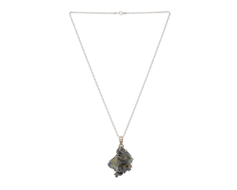 Bismuth crystal strung in a sterling silver cable chain