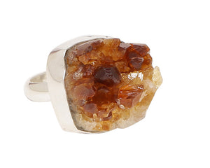 Citrine druzy cluster ring in crown shape