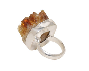 Back view of Citrine crown ring