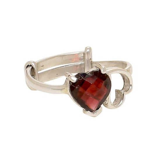 Sterling silver with red garnet stone twin heart finger ring