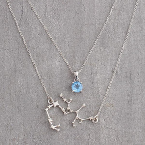 Sagittarius constellation & blue topaz birthstone pendant double layered neckpiece