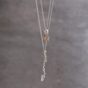 Zodiac scorpio with birthstone strung in sterling silver double layered chain