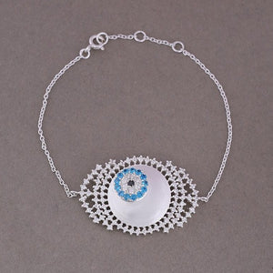 Zircon studded evil eye bracelet