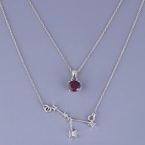 Double layered neckpiece cancer constellation with ruby pendant