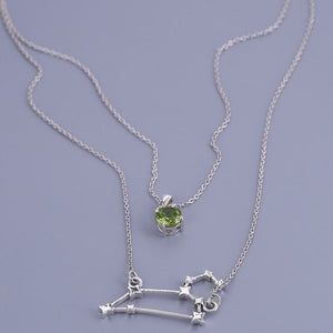 Sterling silver layered chain of Leo constellation and peridot birthstone