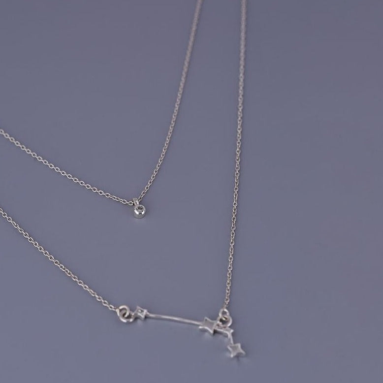 Aries constellation with birthstone double layered necklace