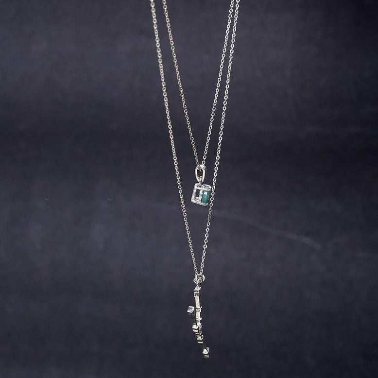 Delicate double layered taurus necklace