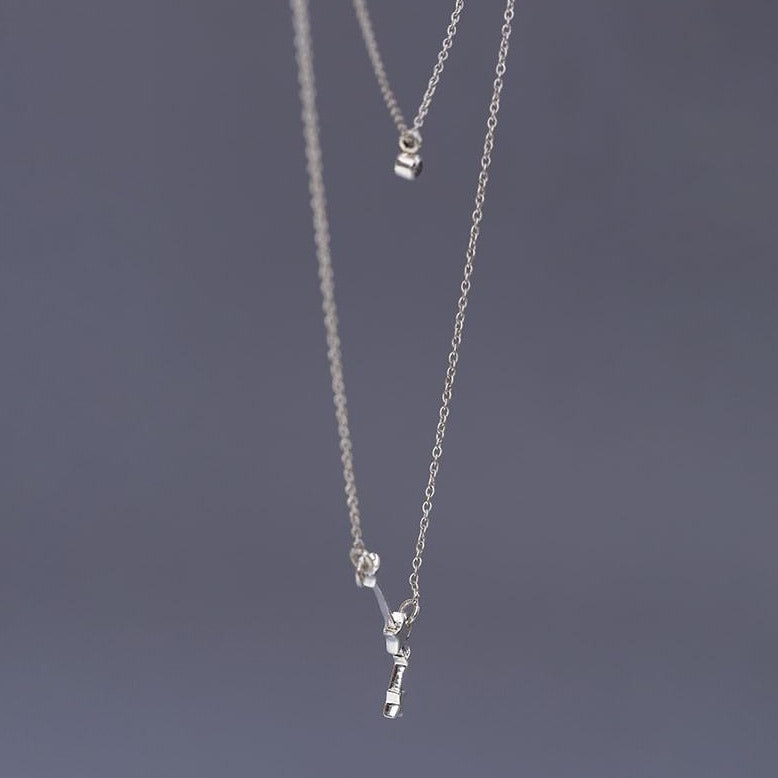 Aries constellation with birthstone layered sterling silver chain