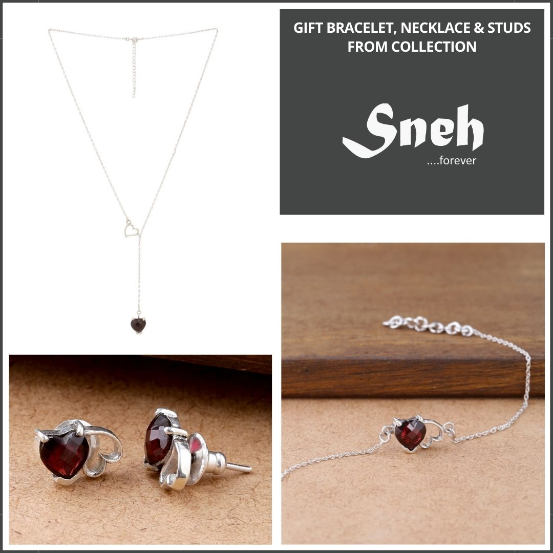 Sneh Collection necklace bracelet and stud earrings for gift