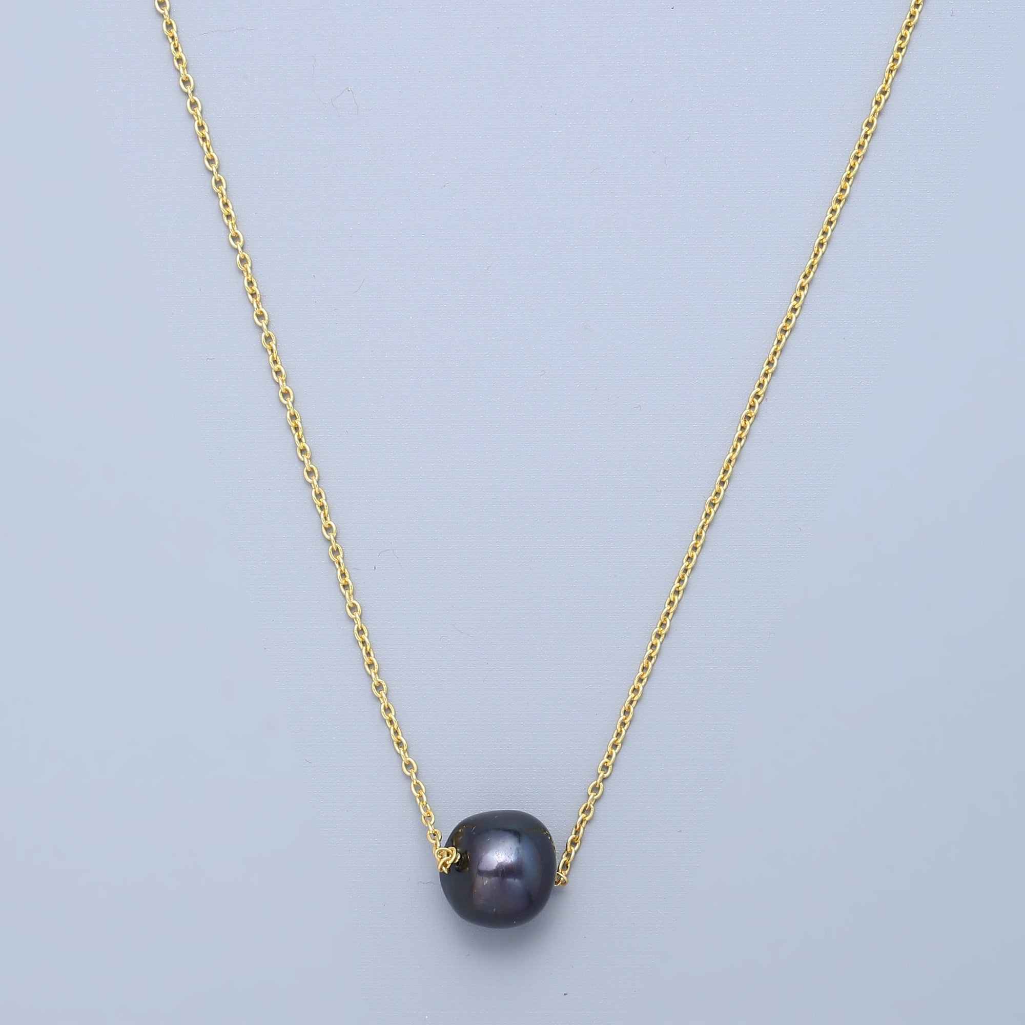 Solo Tahitian Pearl Necklace - Gold Plated