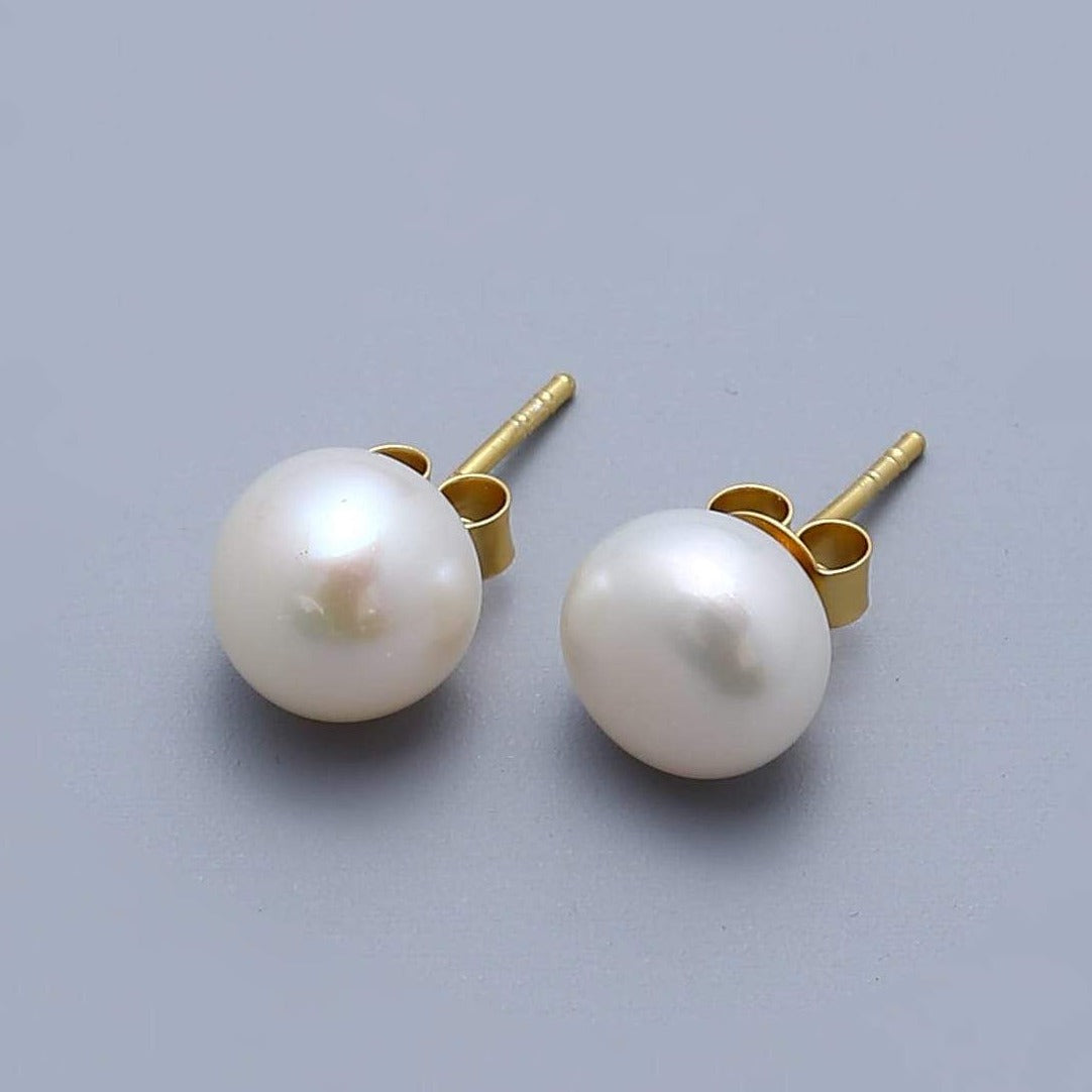 Classic White Pearl Studs - Gold