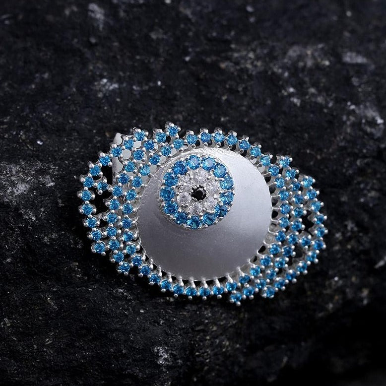 Evil eye brooch in blue