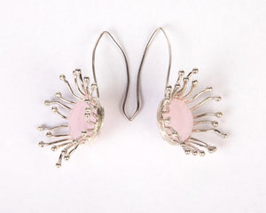 Fish hoop style rose quartz stone earrings