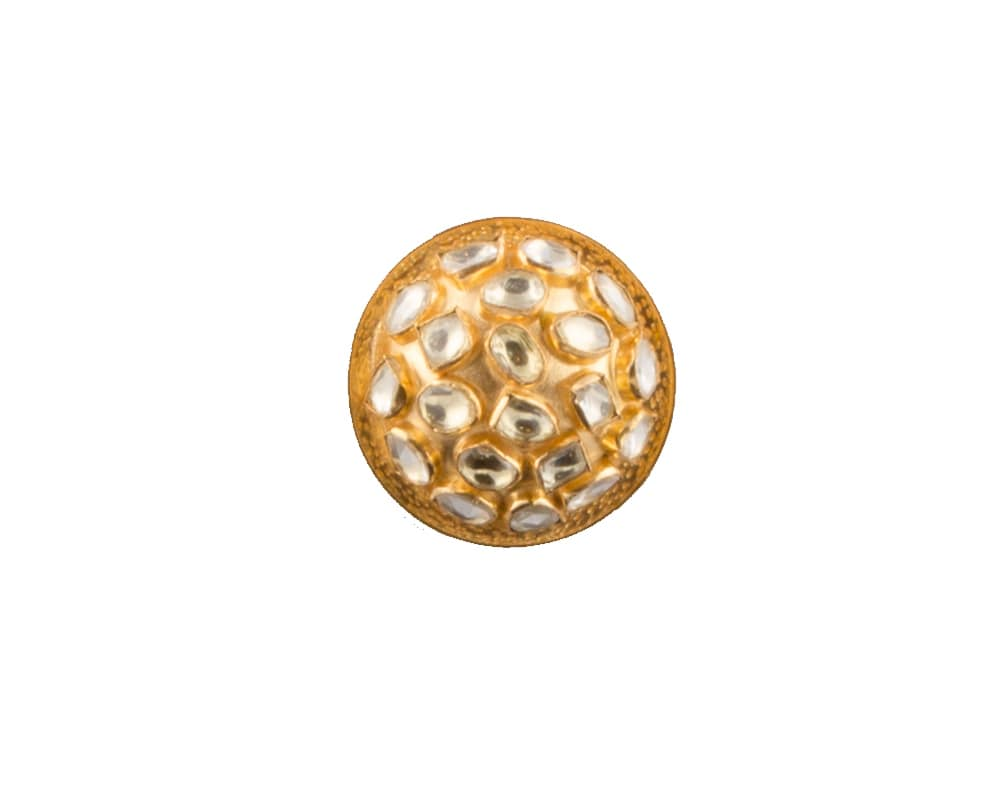 Bold dome shaped cocktail ring in kundan work