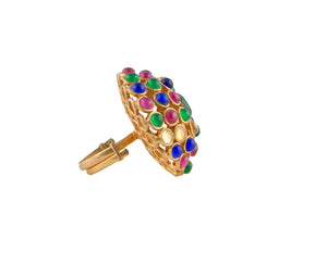 Moroccan misbah multicolour ring