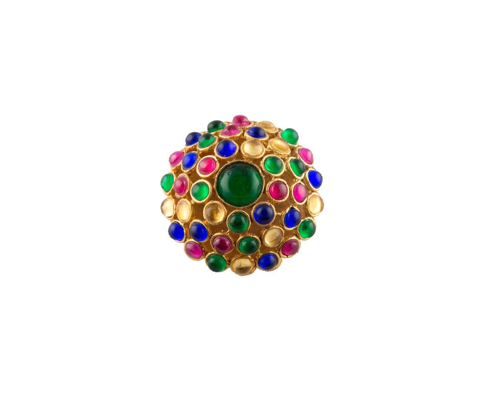 Semi-precious stone & silver kundan chandelier cocktail ring
