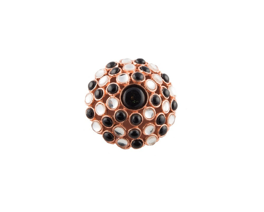 Moroccan chandelier black onyx & silver kundan cocktail finger ring