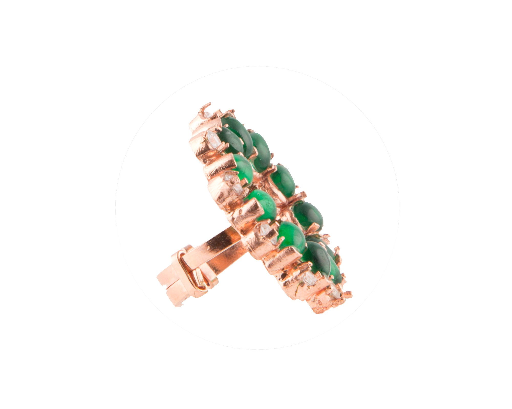 Semi-precious green garnet & white zirconia stone rose gold plated ring