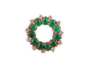 Rose gold plated green garnet stone ring