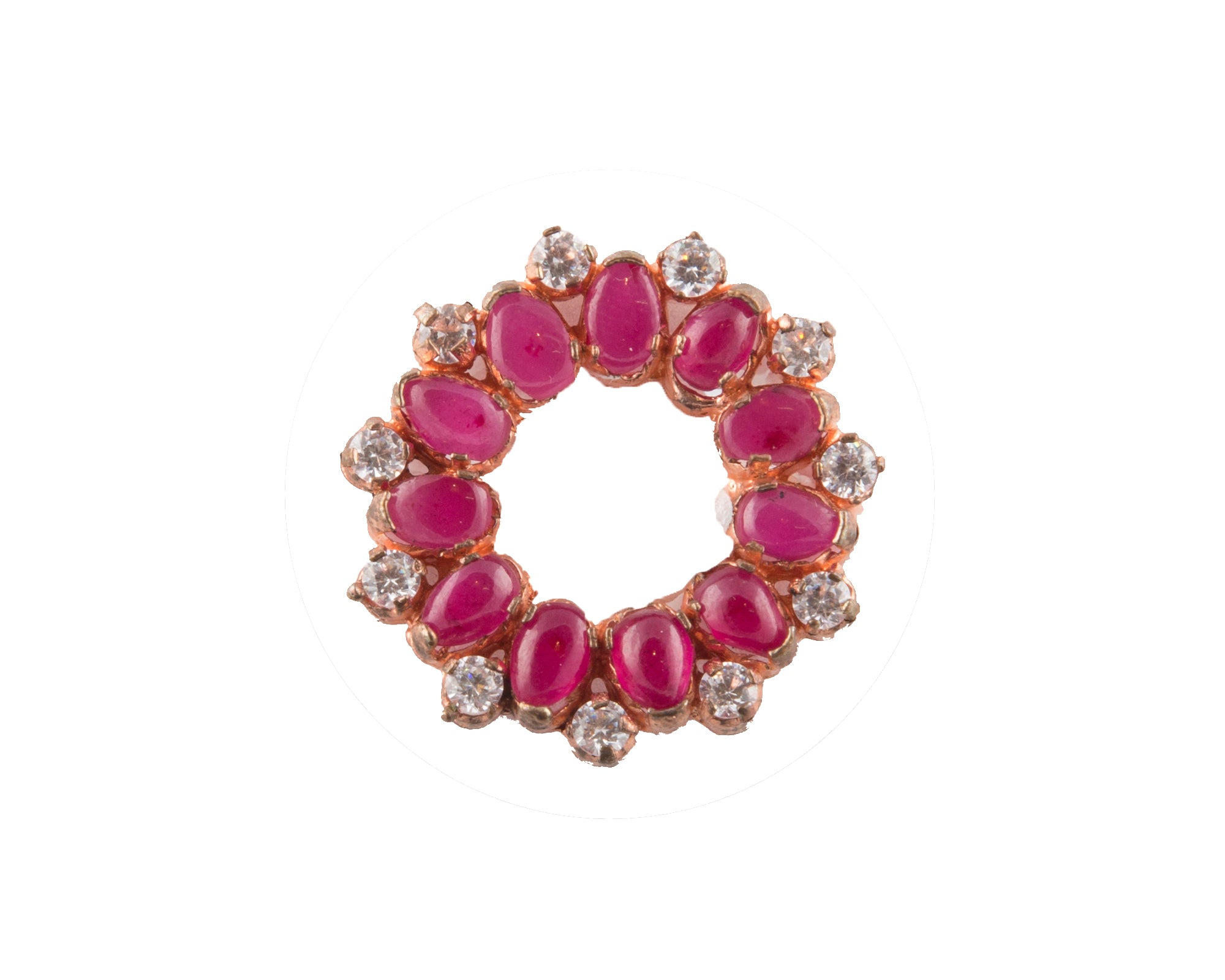 Rose gold plated pink sapphire and white zircon stones ring
