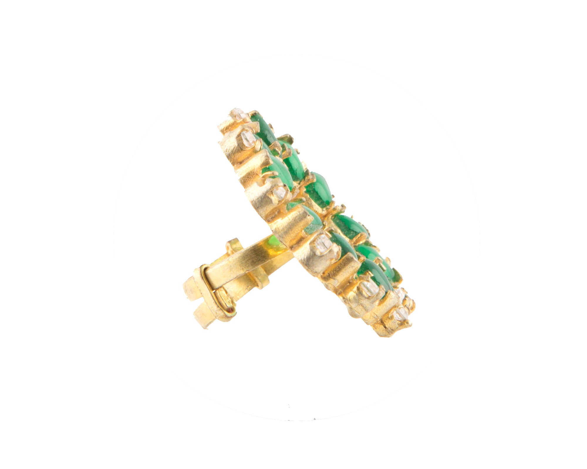 Semi-precious green garnet & white zirconia stone gold plated ring