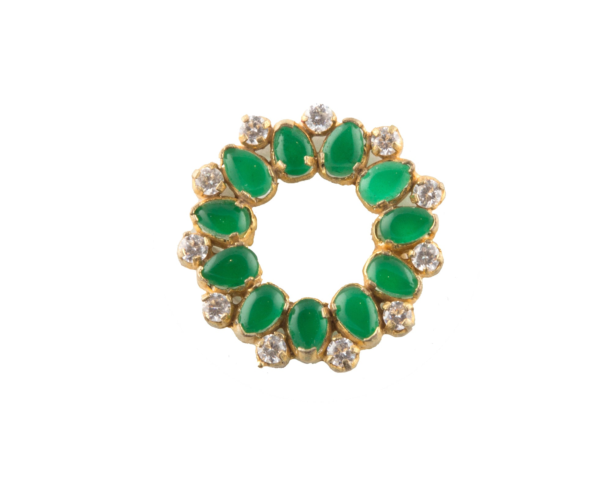 Gold plated green garnet finger ring