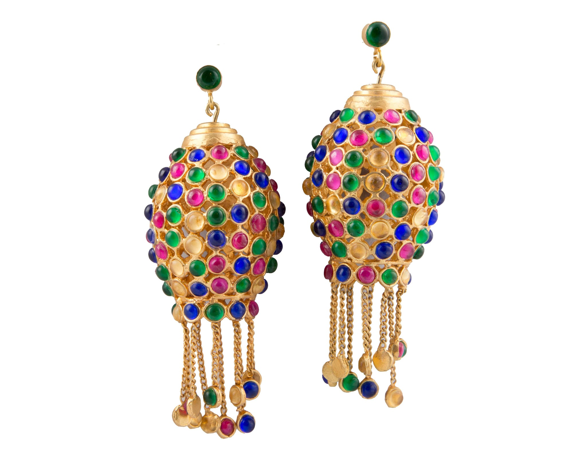 Multicolour semi-precious stones moroccan chandelier earrings
