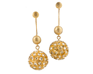 Contemporary kundan work festive wear earrings