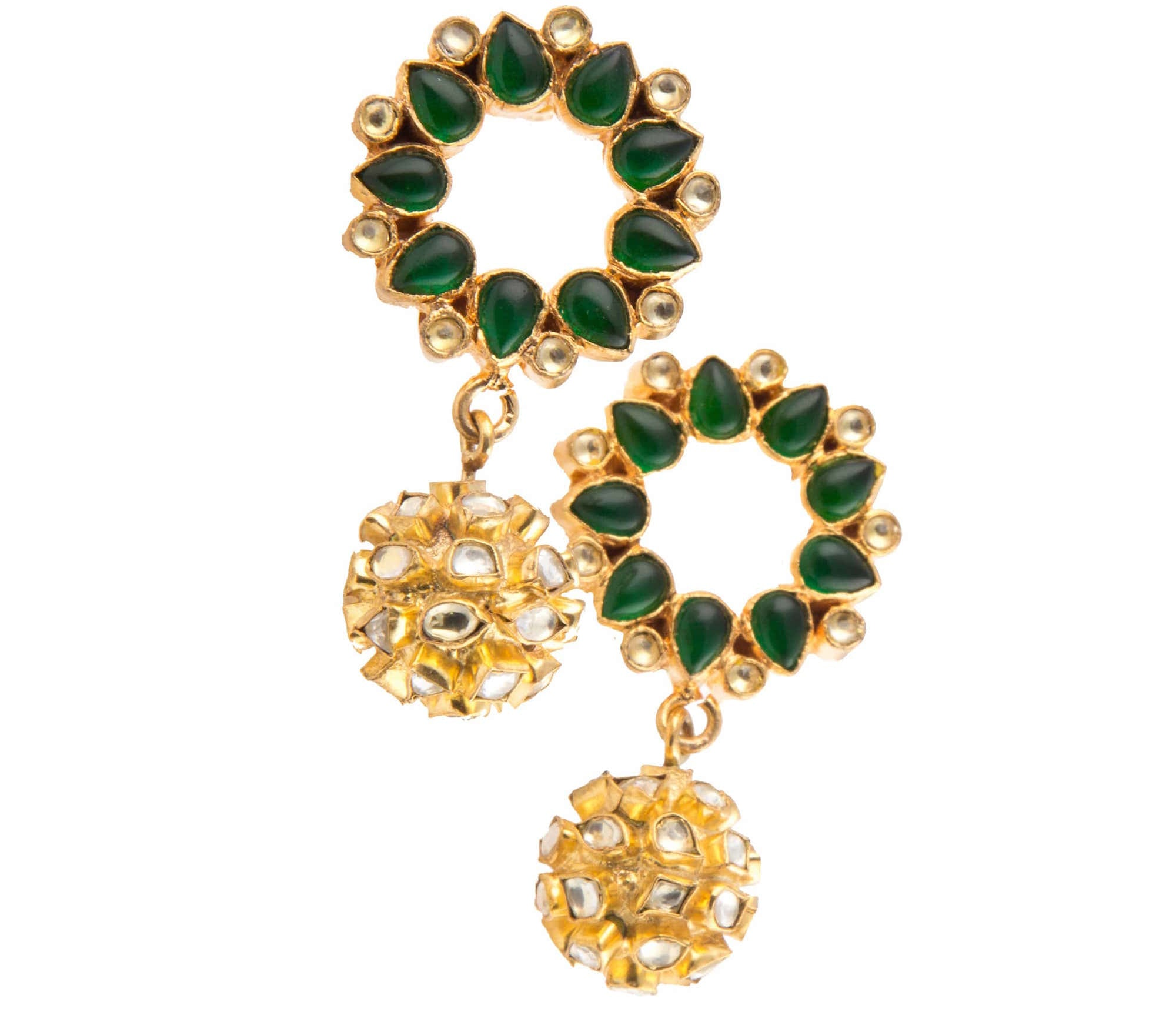 Gold plated kundan earrings with green garnet stone