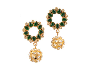 Tiara drops in green garnet stone and gold plated
