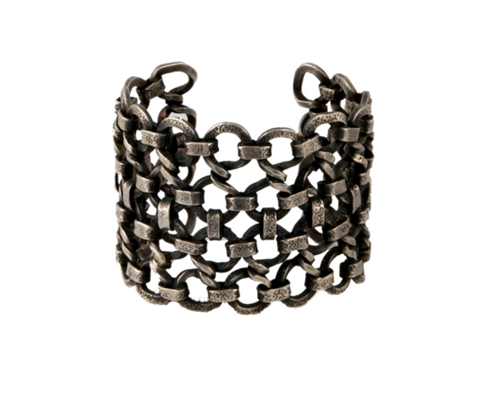 Bold sterling silver interlock pattern open cuff