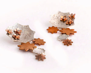 Sterling silver,copper and cubic zirconia studs cocktail danglers